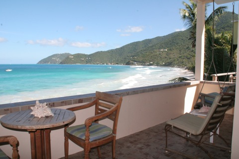 sandy beach in front of applesurf villas located on the beach in apple bay, tortola, bvi