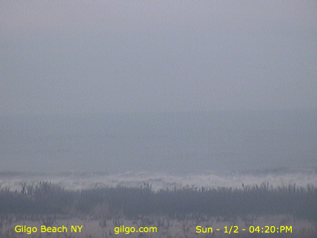 Current JPEG image of live webcam displaying the Atlantic Ocean showing surf break at Gilgo Beach, NY